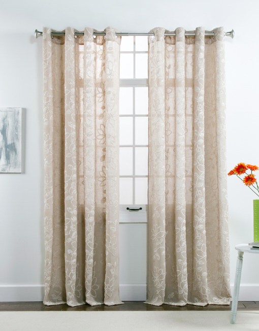 Darcy Chenille Embroidered Grommet Panel Twill And Birch